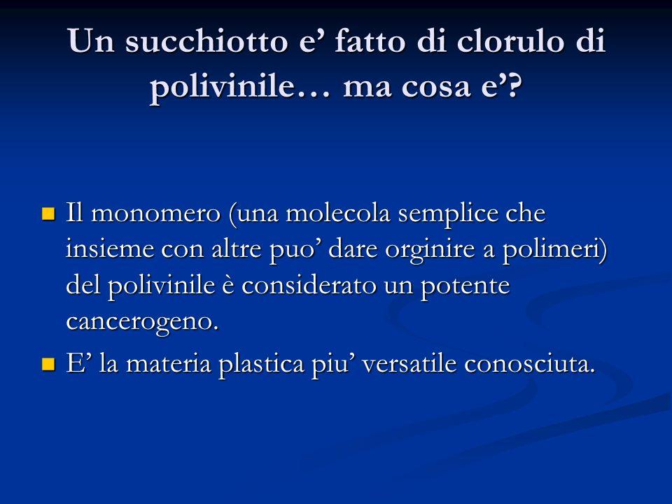 Un succhiotto e fatto di clorulo di polivinile… ma cosa e? Il monomero (una molecola semplice che insieme con altre puo dare orginire a polimeri) del
