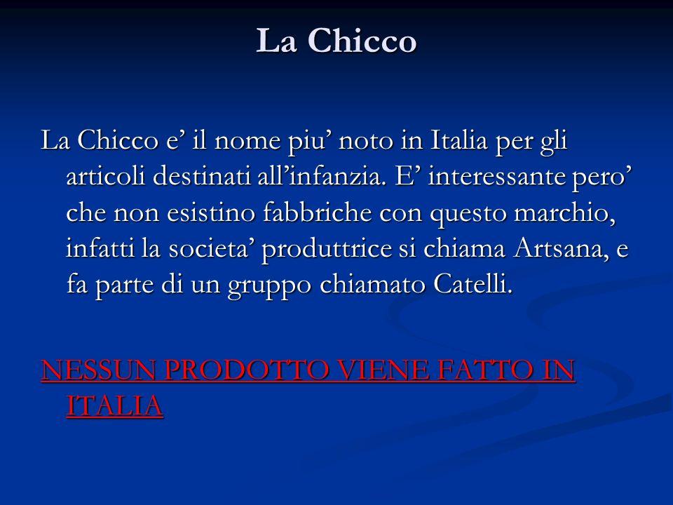 La Chicco La Chicco e il nome piu noto in Italia per gli articoli destinati allinfanzia. E interessante pero che non esistino fabbriche con questo mar