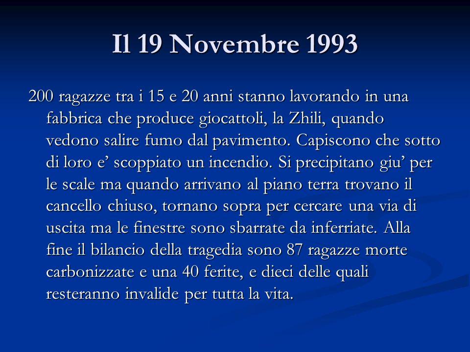Il 19 Novembre 1993 200 ragazze tra i 15 e 20 anni stanno lavorando in una fabbrica che produce giocattoli, la Zhili, quando vedono salire fumo dal pa