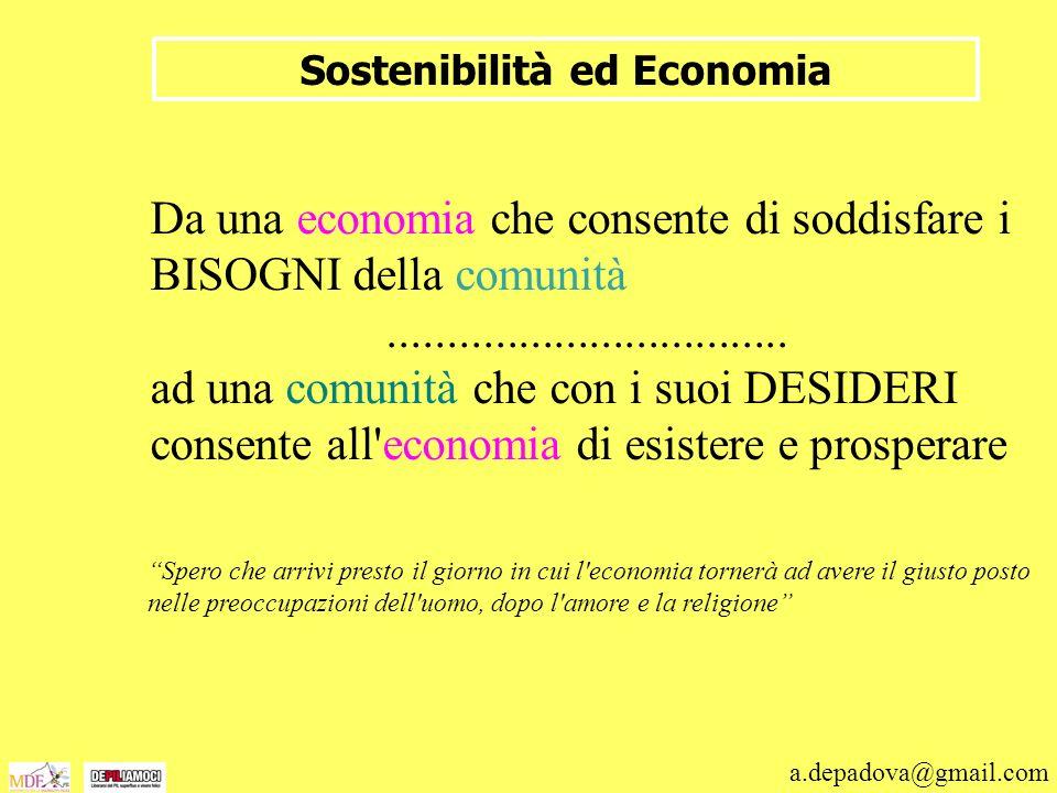 a.depadova@gmail.com Sostenibilità ed Economia Da una economia che consente di soddisfare i BISOGNI della comunità.................................. a