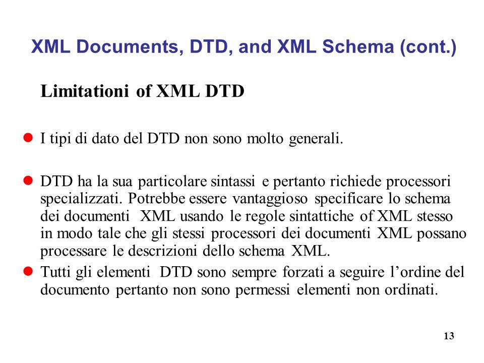 13 XML Documents, DTD, and XML Schema (cont.) Limitationi of XML DTD I tipi di dato del DTD non sono molto generali.