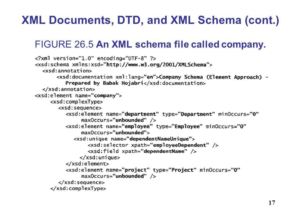 17 XML Documents, DTD, and XML Schema (cont.) FIGURE 26.5 An XML schema file called company.