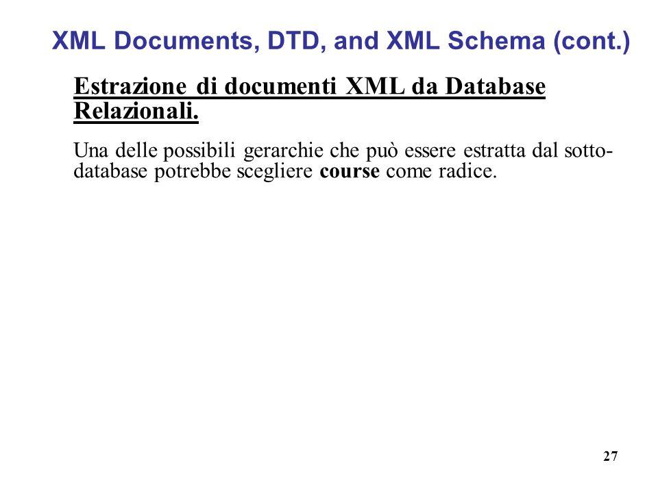 27 XML Documents, DTD, and XML Schema (cont.) Estrazione di documenti XML da Database Relazionali.