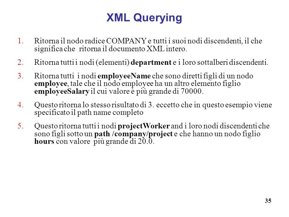 35 XML Querying 1.Ritorna il nodo radice COMPANY e tutti i suoi nodi discendenti, il che significa che ritorna il documento XML intero.
