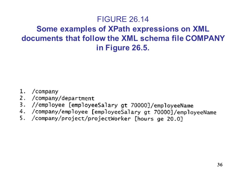 36 FIGURE 26.14 Some examples of XPath expressions on XML documents that follow the XML schema file COMPANY in Figure 26.5.