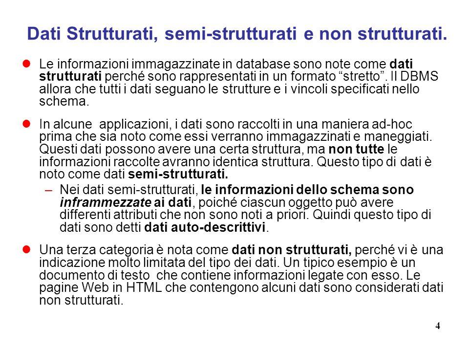 4 Dati Strutturati, semi-strutturati e non strutturati.