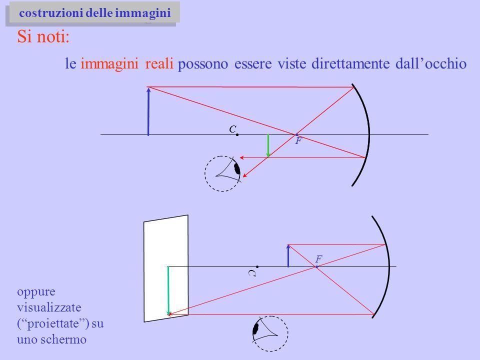 Si noti: C F le immagini reali possono essere viste direttamente dallocchio costruzioni delle immagini C F oppure visualizzate (proiettate) su uno sch