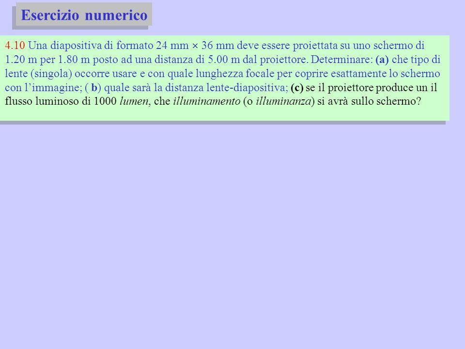 Esercizio numerico 4.10 Una diapositiva di formato 24 mm 36 mm deve essere proiettata su uno schermo di 1.20 m per 1.80 m posto ad una distanza di 5.0