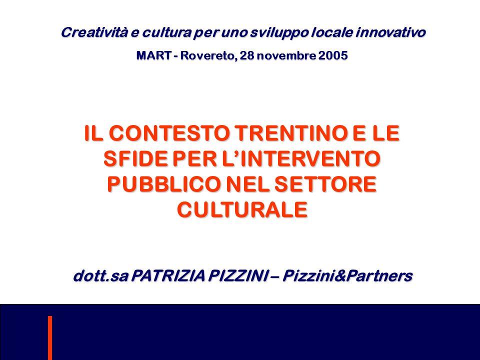 Creatività e cultura per uno sviluppo locale innovativo MART - Rovereto,28 novembre 2005 MART - Rovereto, 28 novembre 2005 IL CONTESTO TRENTINO E LE S