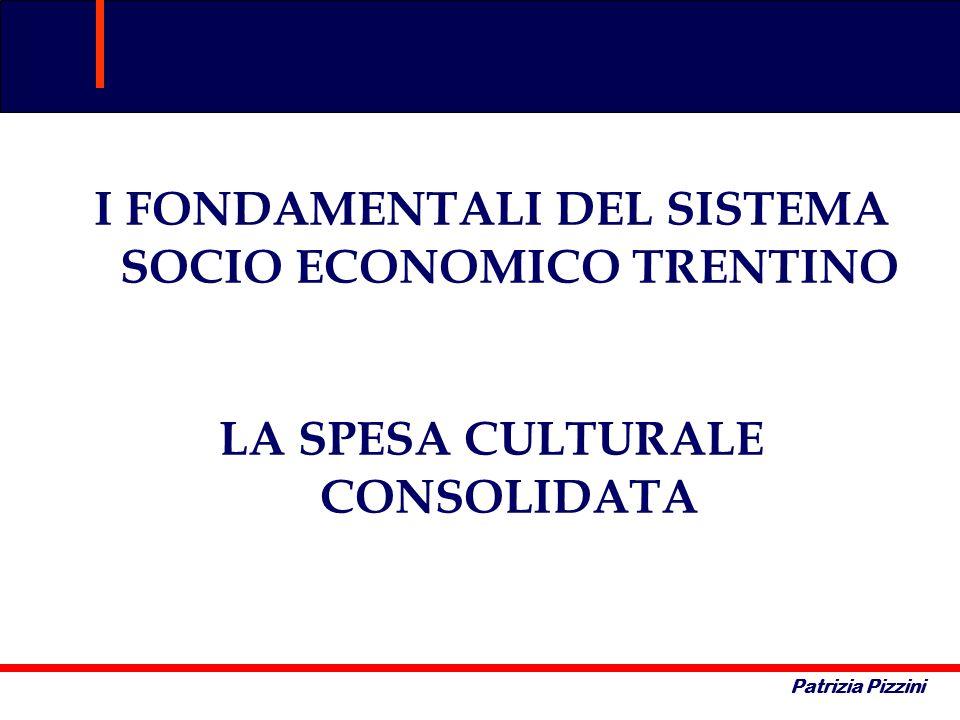 Patrizia Pizzini I FONDAMENTALI DEL SISTEMA SOCIO ECONOMICO TRENTINO LA SPESA CULTURALE CONSOLIDATA