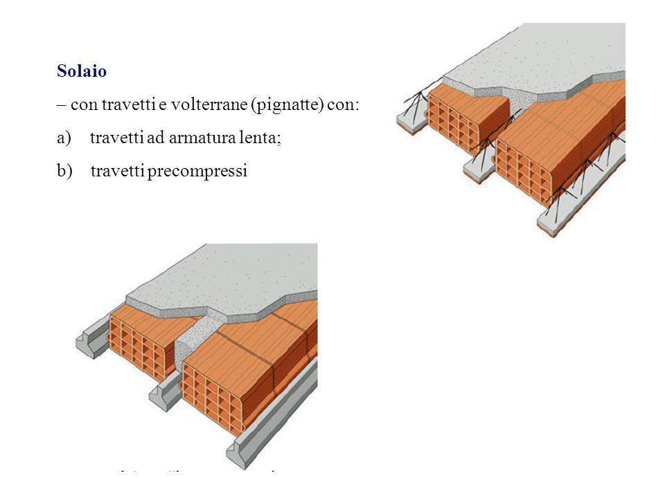 Solaio – con travetti e volterrane (pignatte) con: a)travetti ad armatura lenta; b) travetti precompressi