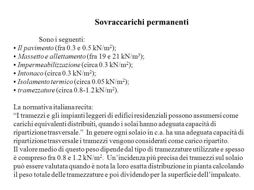 Sovraccarichi permanenti Sono i seguenti: Il pavimento (fra 0.3 e 0.5 kN/m 2 ); Massetto e allettamento (fra 19 e 21 kN/m 3 ); Impermeabilizzazione (c