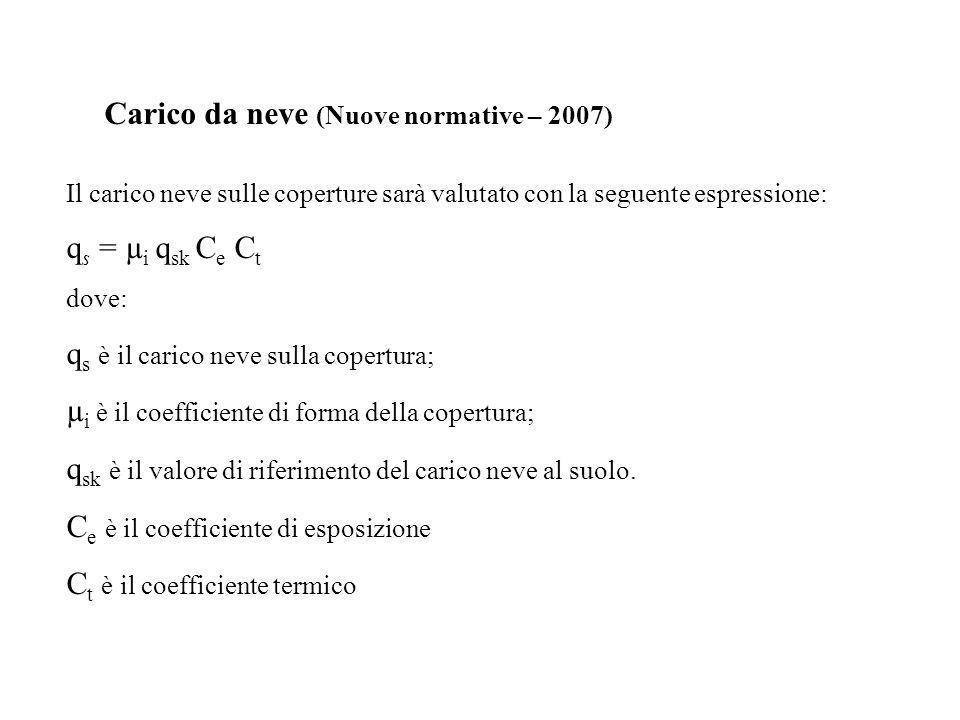 Carico da neve (Nuove normative – 2007) Il carico neve sulle coperture sarà valutato con la seguente espressione: q s = µ i q sk C e C t dove: q s è i