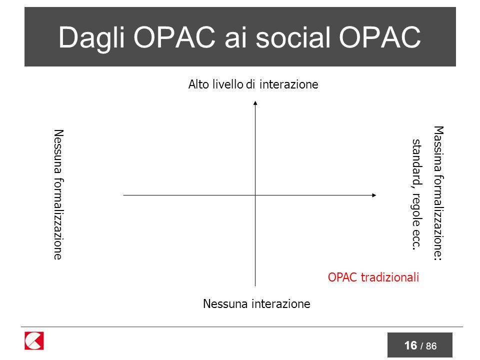 16 / 86 Dagli OPAC ai social OPAC Nessuna interazione Alto livello di interazione Nessuna formalizzazione Massima formalizzazione: standard, regole ecc.