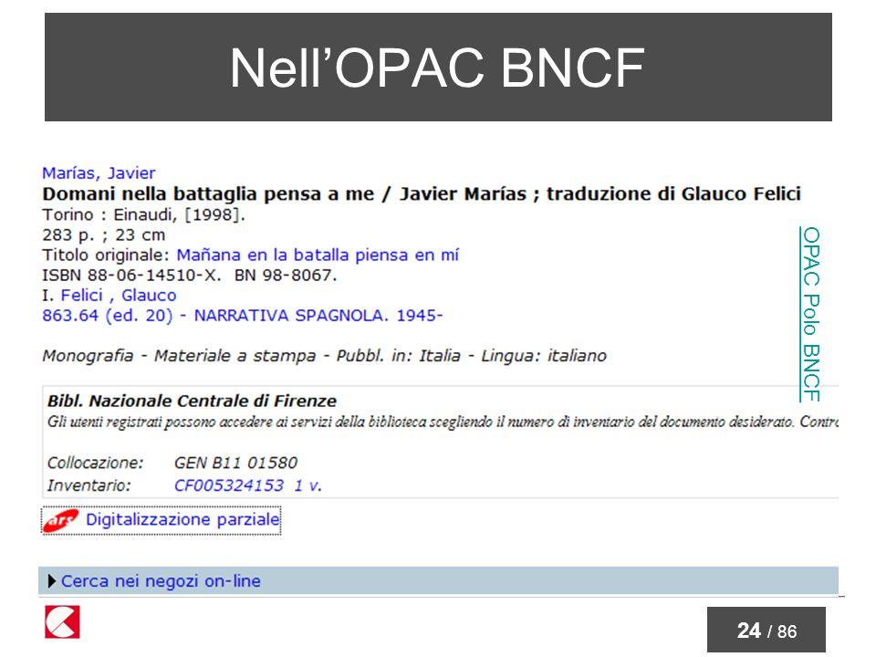 24 / 86 NellOPAC BNCF OPAC Polo BNCF