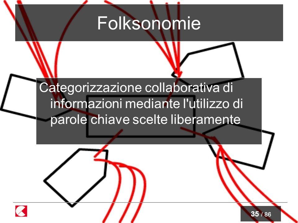 35 / 86 Folksonomie Categorizzazione collaborativa di informazioni mediante l utilizzo di parole chiave scelte liberamente