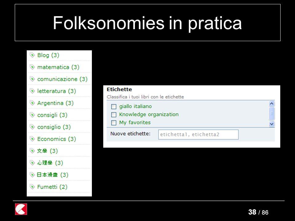 38 / 86 Folksonomies in pratica