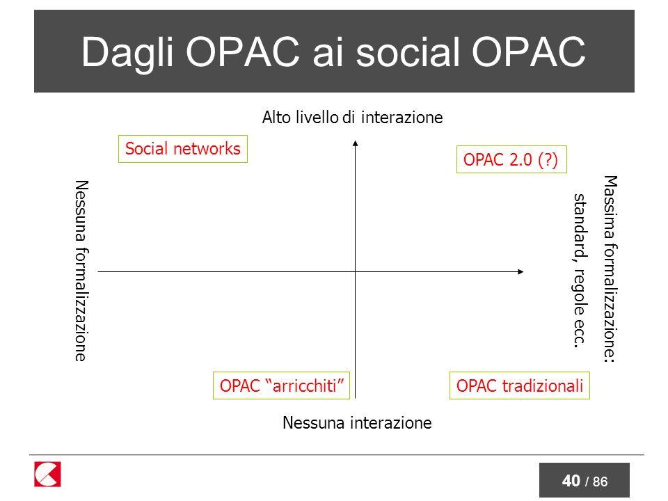 40 / 86 Dagli OPAC ai social OPAC Nessuna interazione Alto livello di interazione Nessuna formalizzazione Massima formalizzazione: standard, regole ecc.