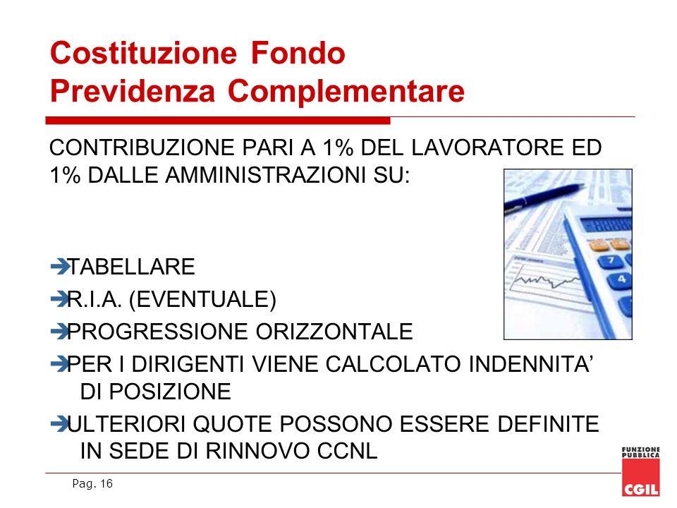 Pag. 16 Costituzione Fondo Previdenza Complementare CONTRIBUZIONE PARI A 1% DEL LAVORATORE ED 1% DALLE AMMINISTRAZIONI SU: TABELLARE R.I.A. (EVENTUALE