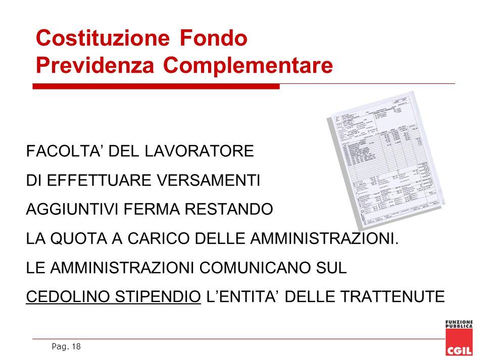 Pag. 18 Costituzione Fondo Previdenza Complementare FACOLTA DEL LAVORATORE DI EFFETTUARE VERSAMENTI AGGIUNTIVI FERMA RESTANDO LA QUOTA A CARICO DELLE