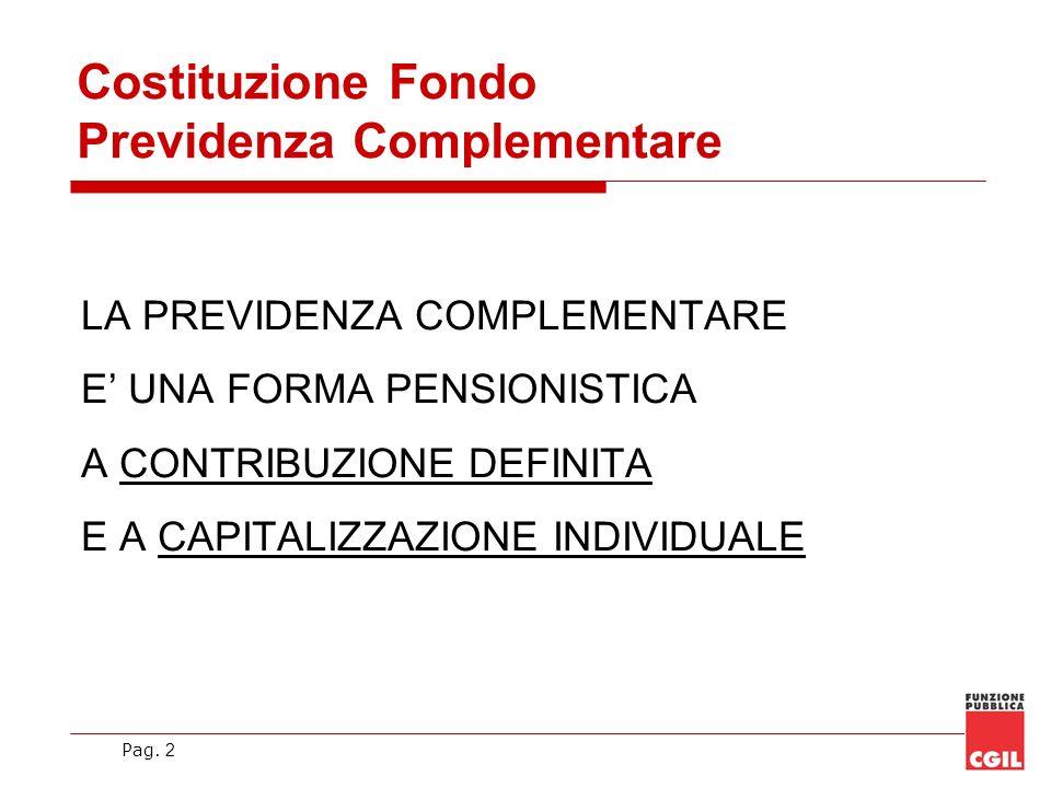 Pag. 2 LA PREVIDENZA COMPLEMENTARE E UNA FORMA PENSIONISTICA A CONTRIBUZIONE DEFINITA E A CAPITALIZZAZIONE INDIVIDUALE Costituzione Fondo Previdenza C