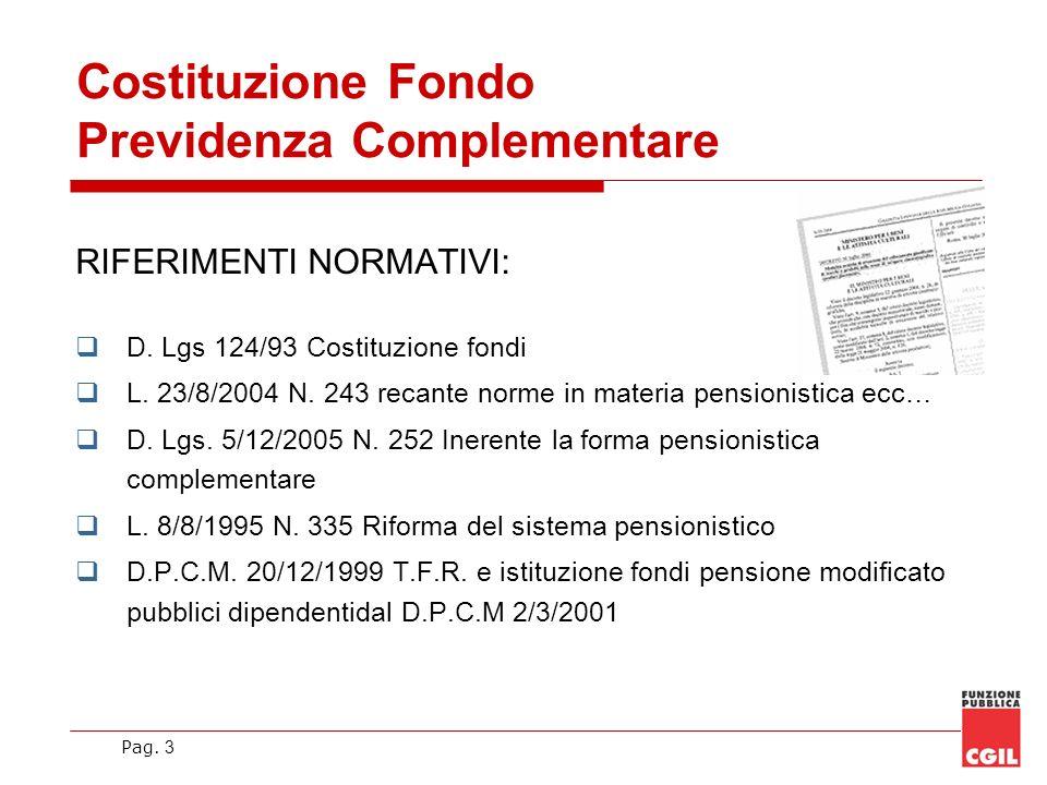 Pag. 3 Costituzione Fondo Previdenza Complementare RIFERIMENTI NORMATIVI: D. Lgs 124/93 Costituzione fondi L. 23/8/2004 N. 243 recante norme in materi