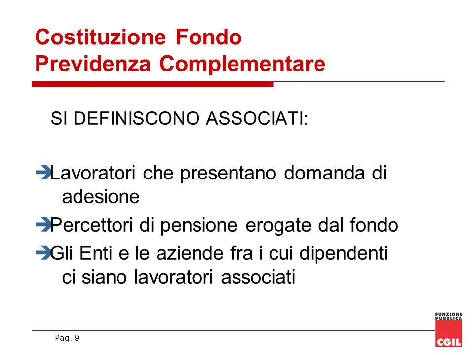 Pag. 9 SI DEFINISCONO ASSOCIATI: Lavoratori che presentano domanda di adesione Percettori di pensione erogate dal fondo Gli Enti e le aziende fra i cu