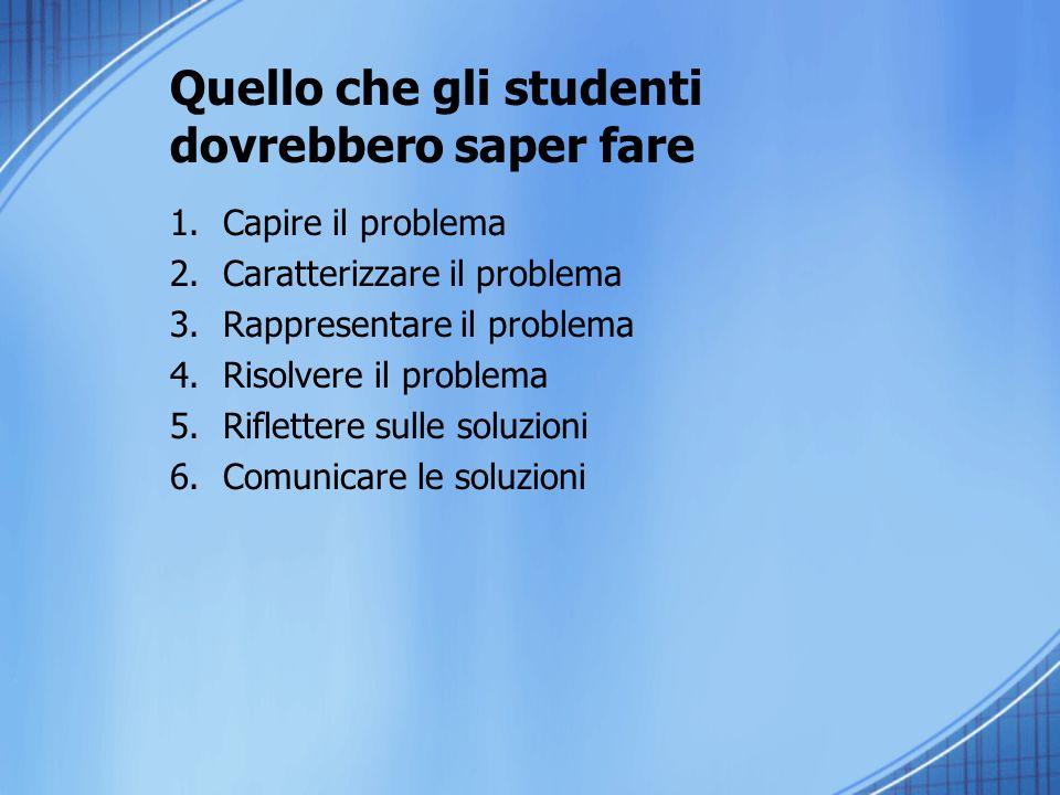 Quello che gli studenti dovrebbero saper fare 1.Capire il problema 2.Caratterizzare il problema 3.Rappresentare il problema 4.Risolvere il problema 5.Riflettere sulle soluzioni 6.Comunicare le soluzioni