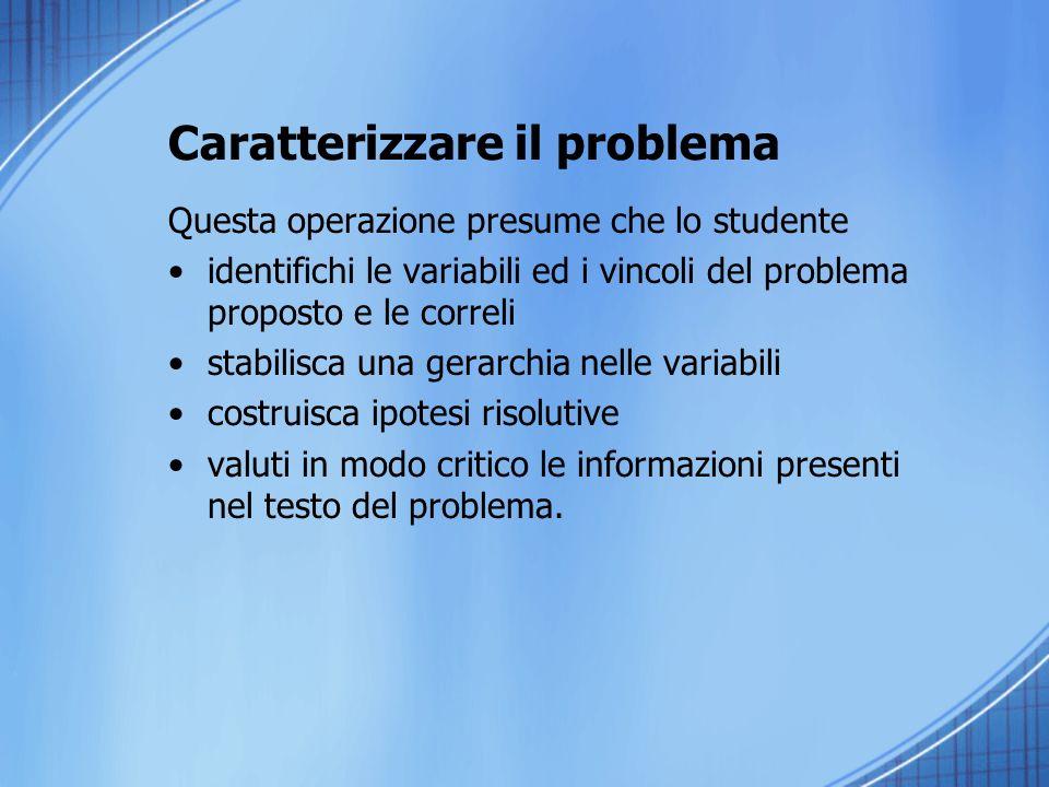 Caratterizzare il problema Questa operazione presume che lo studente identifichi le variabili ed i vincoli del problema proposto e le correli stabilis
