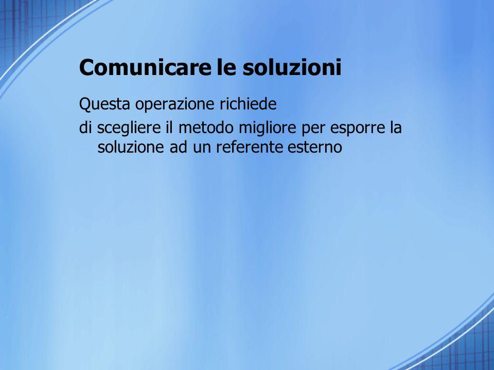 Comunicare le soluzioni Questa operazione richiede di scegliere il metodo migliore per esporre la soluzione ad un referente esterno