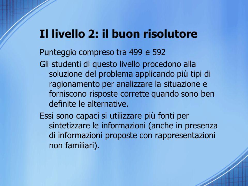 Il livello 2: il buon risolutore Punteggio compreso tra 499 e 592 Gli studenti di questo livello procedono alla soluzione del problema applicando più