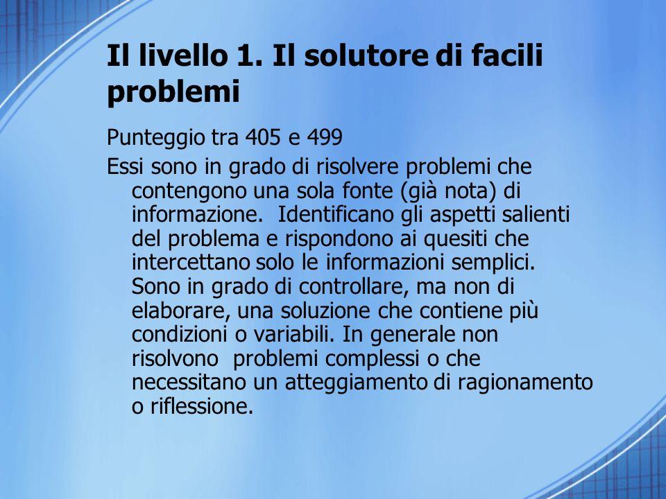 Il livello 1. Il solutore di facili problemi Punteggio tra 405 e 499 Essi sono in grado di risolvere problemi che contengono una sola fonte (già nota)
