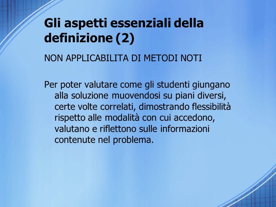 Gli aspetti essenziali della definizione (2) NON APPLICABILITA DI METODI NOTI Per poter valutare come gli studenti giungano alla soluzione muovendosi