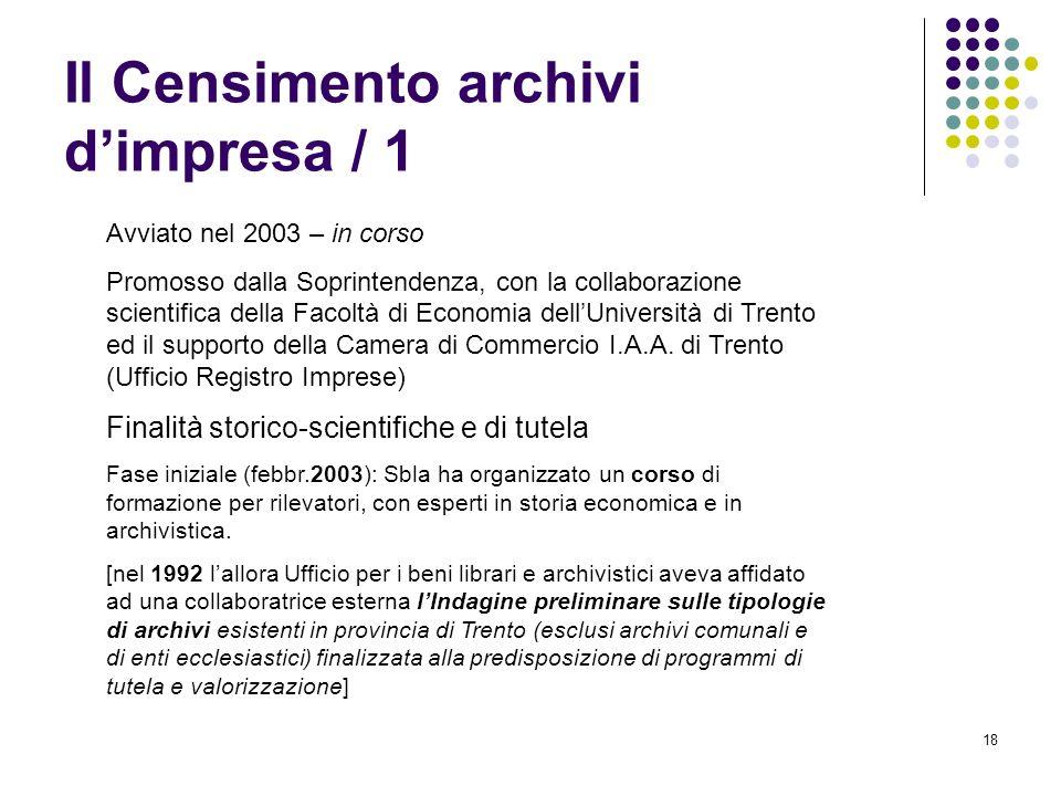 18 Il Censimento archivi dimpresa / 1 Avviato nel 2003 – in corso Promosso dalla Soprintendenza, con la collaborazione scientifica della Facoltà di Ec