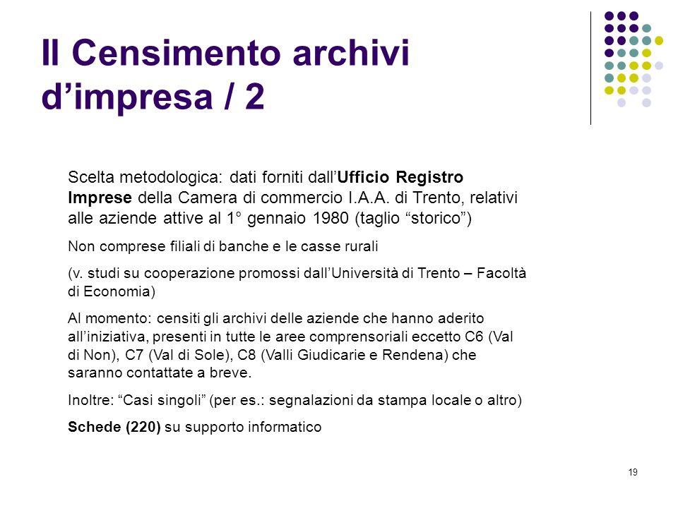 19 Il Censimento archivi dimpresa / 2 Scelta metodologica: dati forniti dallUfficio Registro Imprese della Camera di commercio I.A.A. di Trento, relat