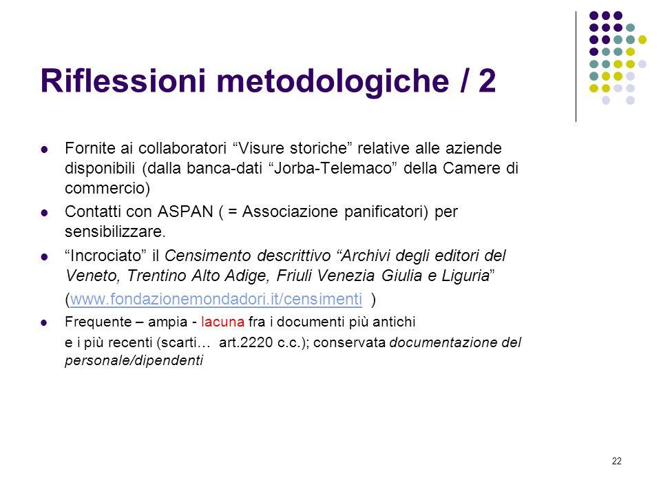 22 Riflessioni metodologiche / 2 Fornite ai collaboratori Visure storiche relative alle aziende disponibili (dalla banca-dati Jorba-Telemaco della Cam
