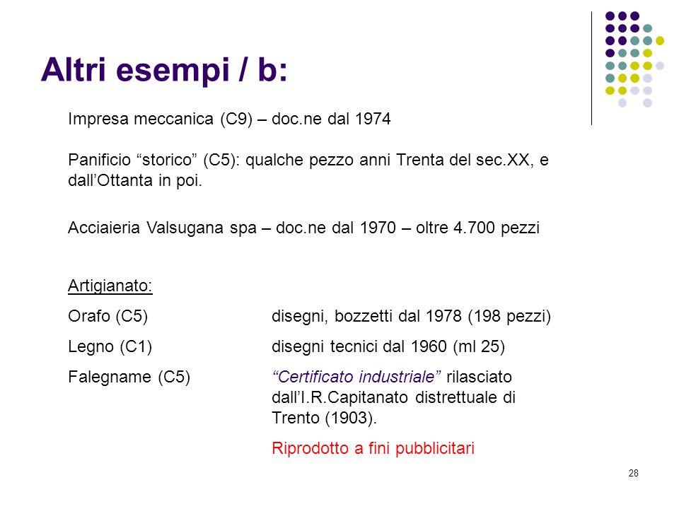 28 Altri esempi / b: Impresa meccanica (C9) – doc.ne dal 1974 Panificio storico (C5): qualche pezzo anni Trenta del sec.XX, e dallOttanta in poi. Acci