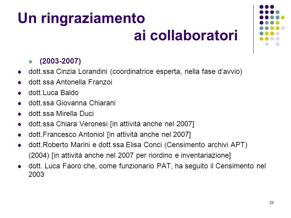 29 Un ringraziamento ai collaboratori (2003-2007) dott.ssa Cinzia Lorandini (coordinatrice esperta, nella fase davvio) dott.ssa Antonella Franzoi dott