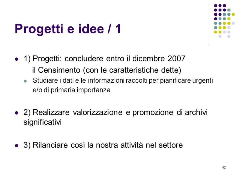 42 Progetti e idee / 1 1) Progetti: concludere entro il dicembre 2007 il Censimento (con le caratteristiche dette) Studiare i dati e le informazioni r