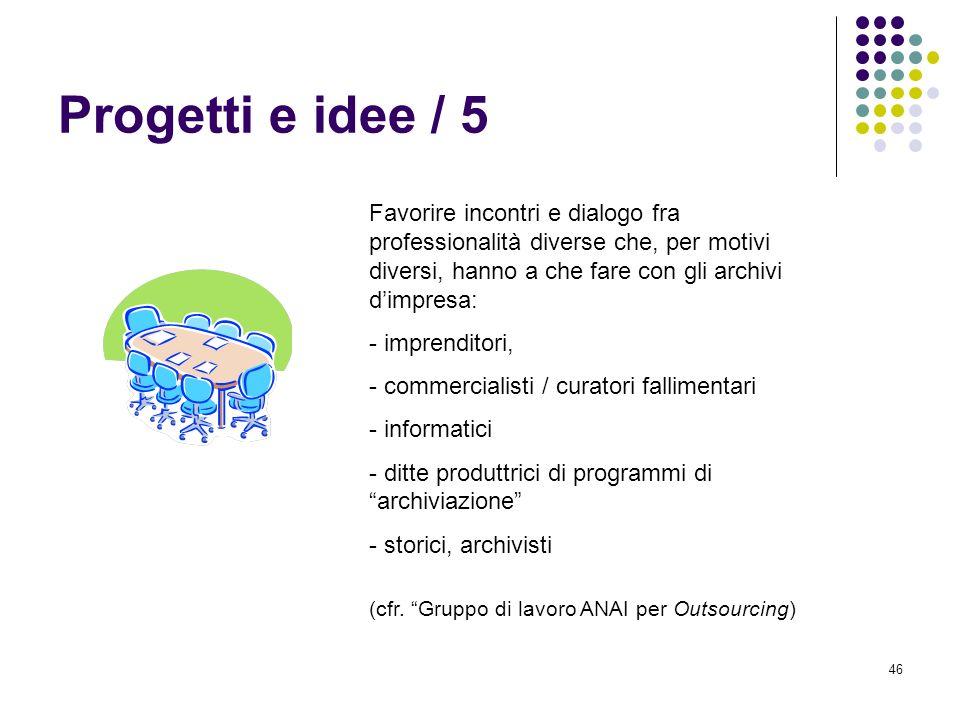46 Progetti e idee / 5 Favorire incontri e dialogo fra professionalità diverse che, per motivi diversi, hanno a che fare con gli archivi dimpresa: - i
