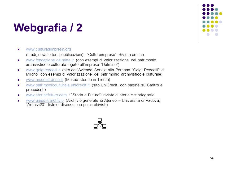 54 Webgrafia / 2 www.culturadimpresa.org (studi, newsletter, pubblicazioni): Cultureimpresa Rivista on-line. www.fondazione.dalmine.it (con esempi di
