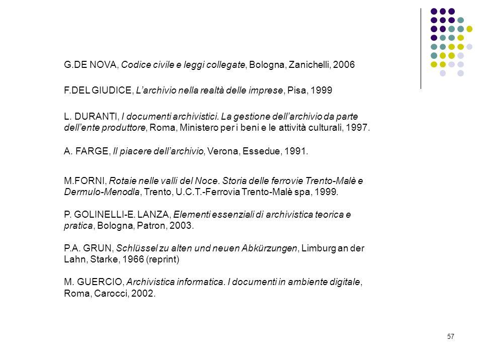 57 G.DE NOVA, Codice civile e leggi collegate, Bologna, Zanichelli, 2006 F.DEL GIUDICE, Larchivio nella realtà delle imprese, Pisa, 1999 L. DURANTI, I