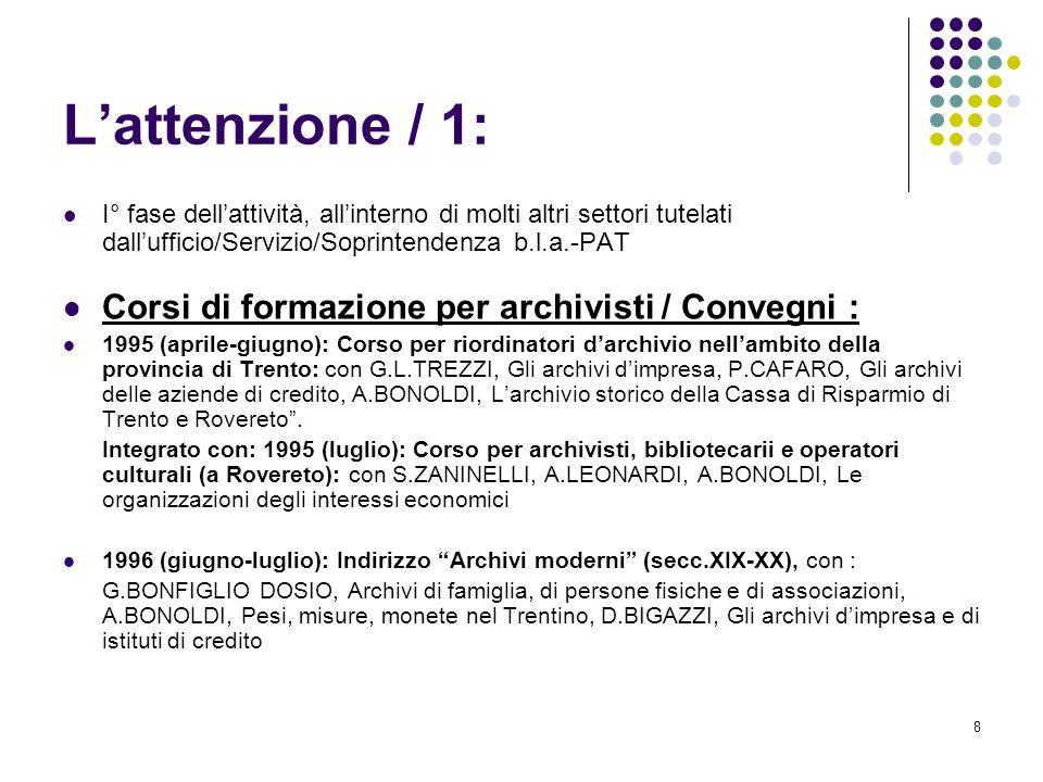 19 Il Censimento archivi dimpresa / 2 Scelta metodologica: dati forniti dallUfficio Registro Imprese della Camera di commercio I.A.A.