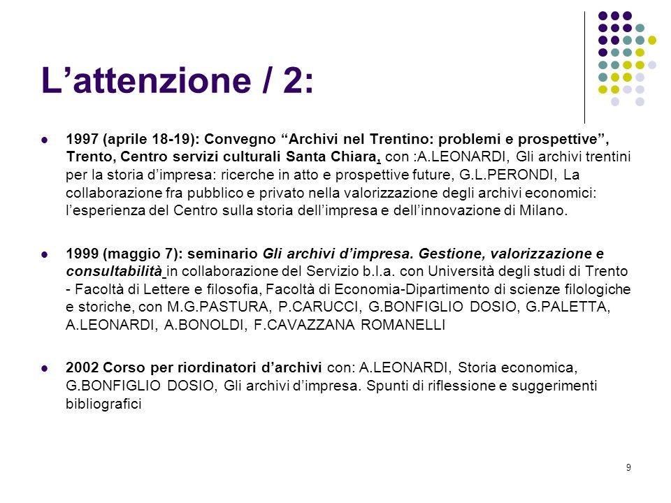 9 Lattenzione / 2: 1997 (aprile 18-19): Convegno Archivi nel Trentino: problemi e prospettive, Trento, Centro servizi culturali Santa Chiara, con :A.L