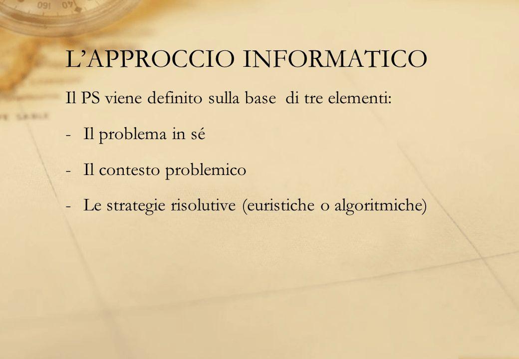 LAPPROCCIO INFORMATICO Il PS viene definito sulla base di tre elementi: -Il problema in sé -Il contesto problemico -Le strategie risolutive (euristich