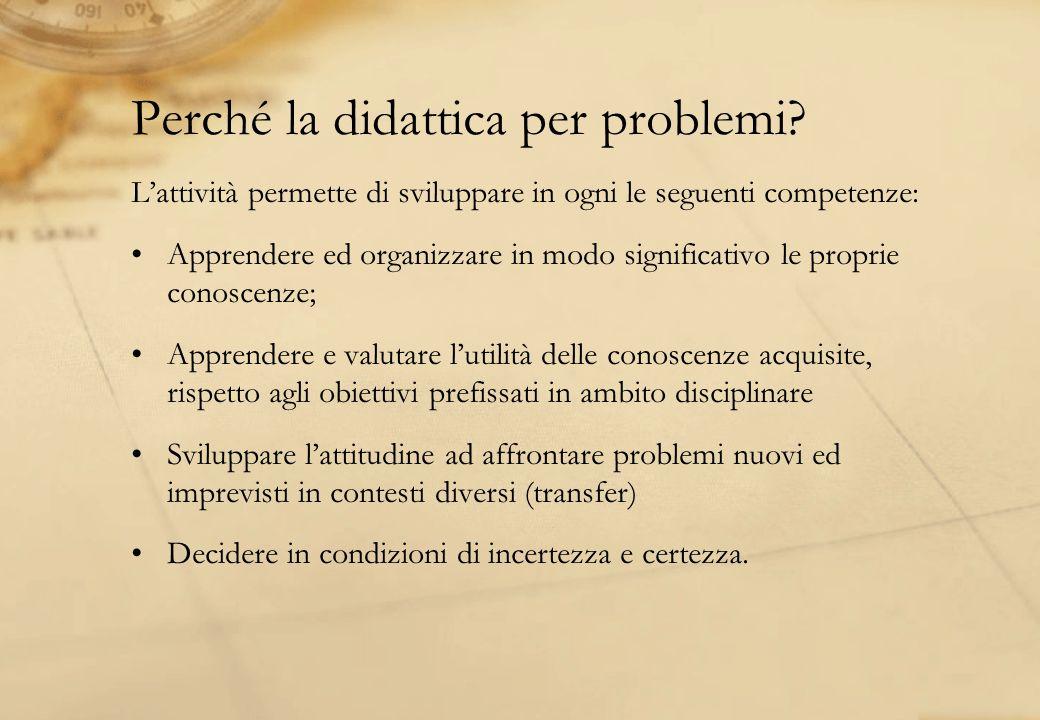 Perché la didattica per problemi? Lattività permette di sviluppare in ogni le seguenti competenze: Apprendere ed organizzare in modo significativo le
