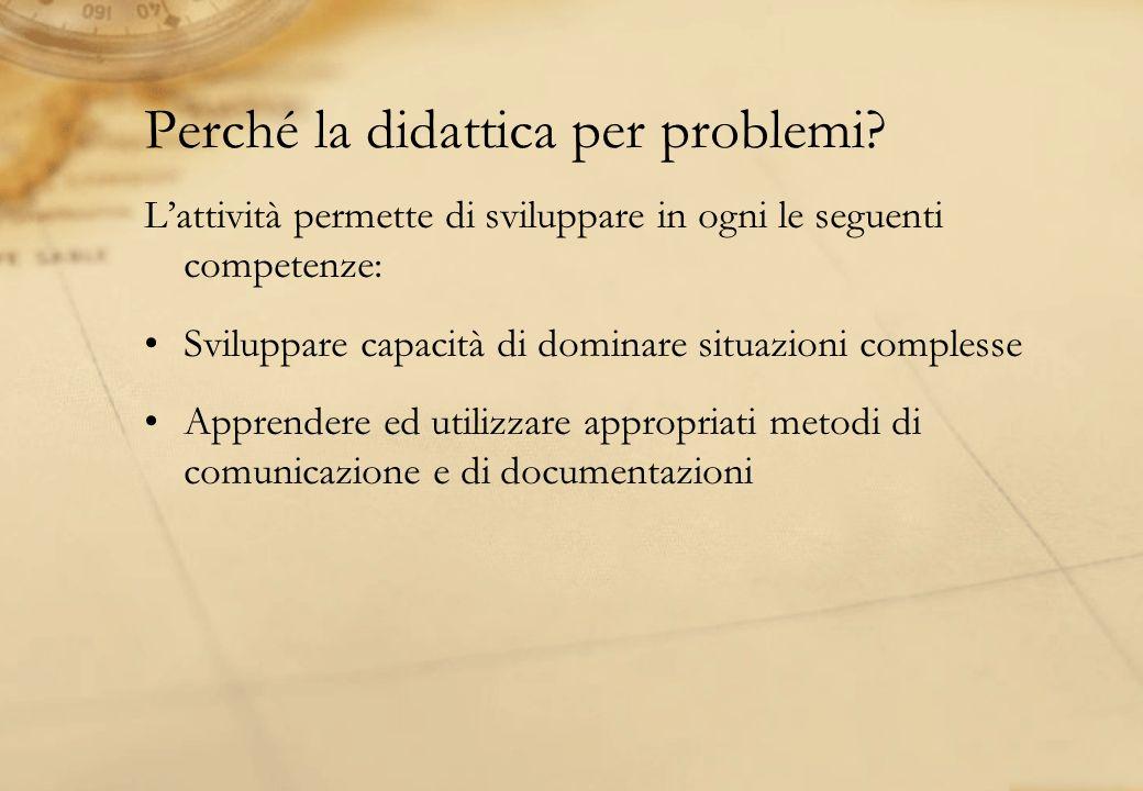 Perché la didattica per problemi? Lattività permette di sviluppare in ogni le seguenti competenze: Sviluppare capacità di dominare situazioni compless