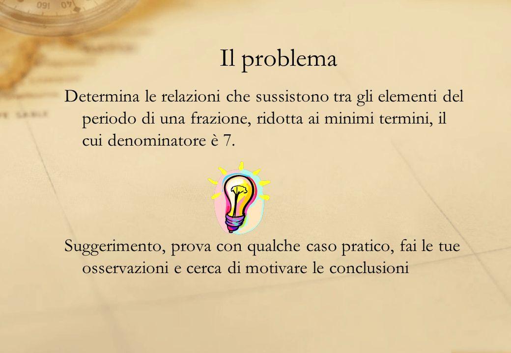 Il problema Determina le relazioni che sussistono tra gli elementi del periodo di una frazione, ridotta ai minimi termini, il cui denominatore è 7. Su