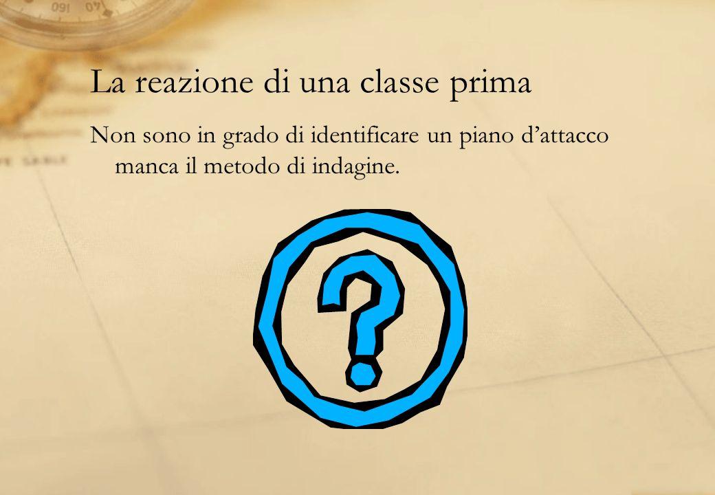 La reazione di una classe prima Non sono in grado di identificare un piano dattacco manca il metodo di indagine.