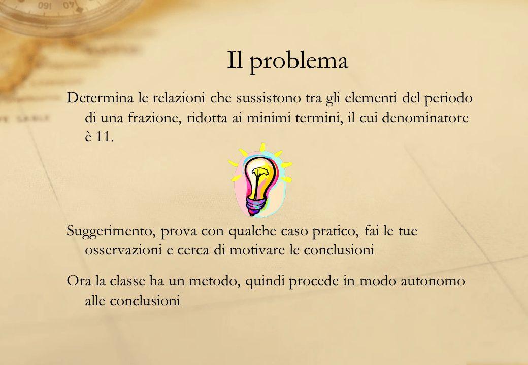 Il problema Determina le relazioni che sussistono tra gli elementi del periodo di una frazione, ridotta ai minimi termini, il cui denominatore è 11. S